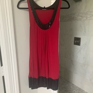 Express red dress with black sequin